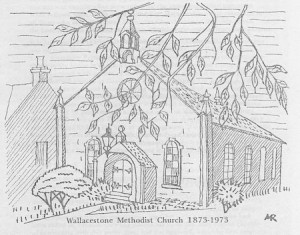 Cover of Wallacestone Methodist Church centenary booklet sketched by Anna Russell.