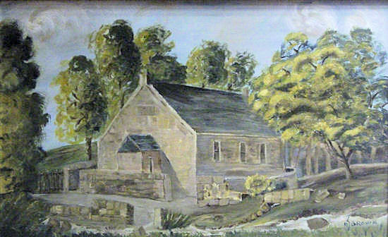"""The first Wallacestone Methodist Church building, painted in oils by Alice-Jane Brown from the frontispiece of """"The Wallacestone Reformer"""" published circa 1849 (painting hanging in Wallacestone Methodist Church hall). The building is now demolished."""