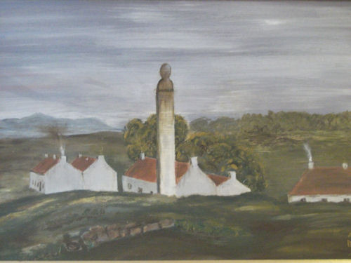 """Wallacestone at the time of Alexander Patrick. Painted in oils by Alice-Jane Brown from the frontispiece of """"The Wallacestone Reformer"""" published circa 1849 (painting hanging in Wallacestone Methodist Church hall)."""