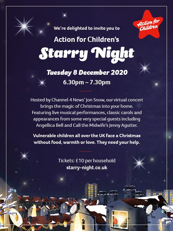 Flyer for Action for Children's Starry Night
